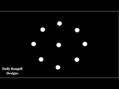 Small Simple Kolam With 3 dots #774 | Muggulu Designs | Easy Rangoli | Simple Easy Colour Kolangal