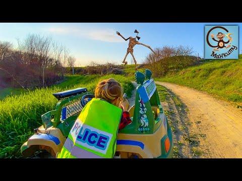 Дети и Машина. Диана и Даня и Милан играют в полицию, погоня на полицейской машине. Манкиту