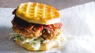 Chicken & Waffle Sandwich Recipe By Sam The Cooking Guy