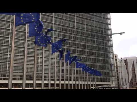 EU flags in storm at the Berlaymont