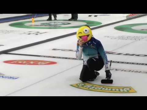 Kerri Einarson wears emoji mask for Sick Shot Challenge