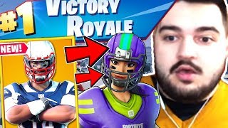 THE FIRST VICTORY ROYALE ON FORTNITE WITH THE NEW NFL SKINS!