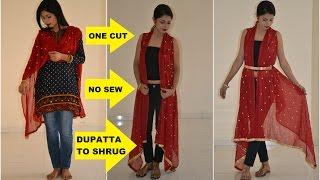 DIY: Convert Old Dupatta into Stylish Shrug  | One Cut, No Sew Shrug