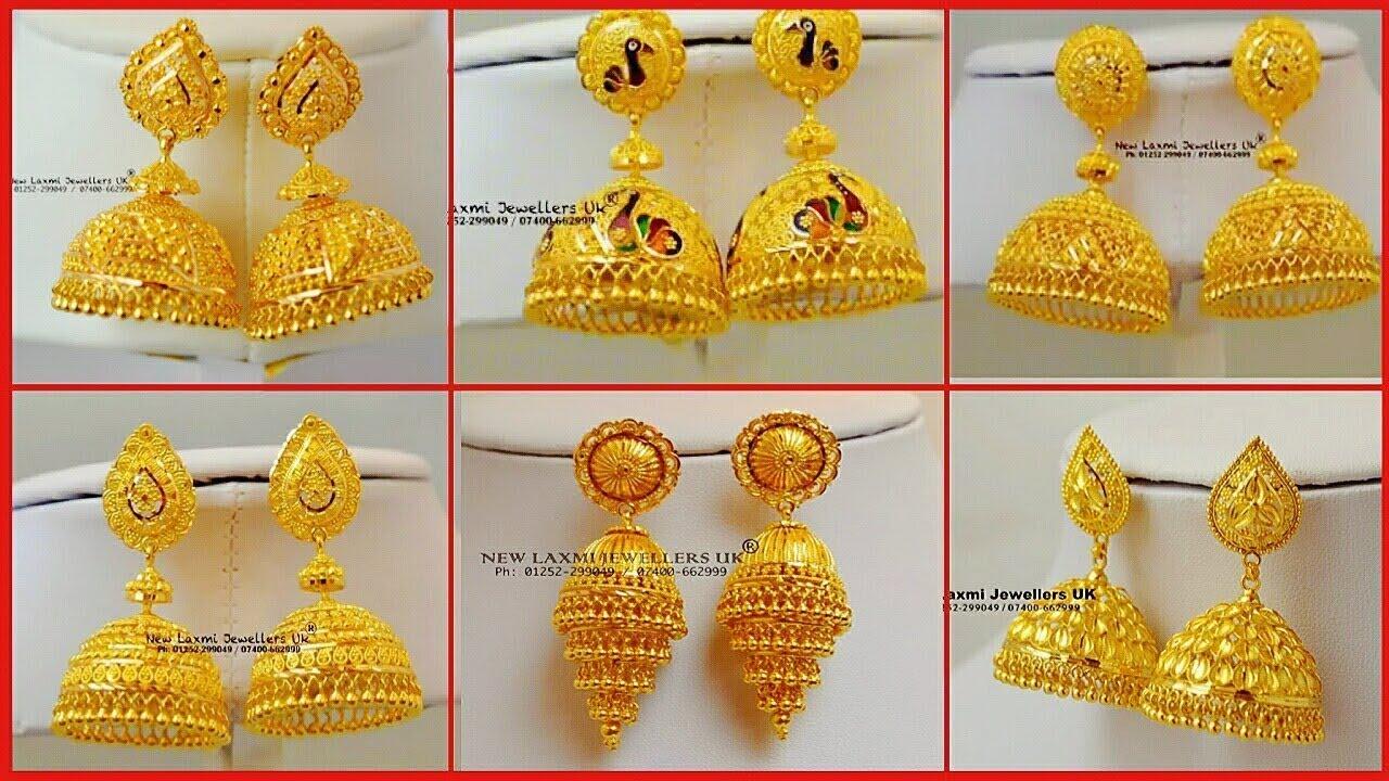 Explore the latest gold jhumka earrings design and price online. Latest Gold Jhumka Design 2019 Golden Jhumkas 22 Carret Youtube