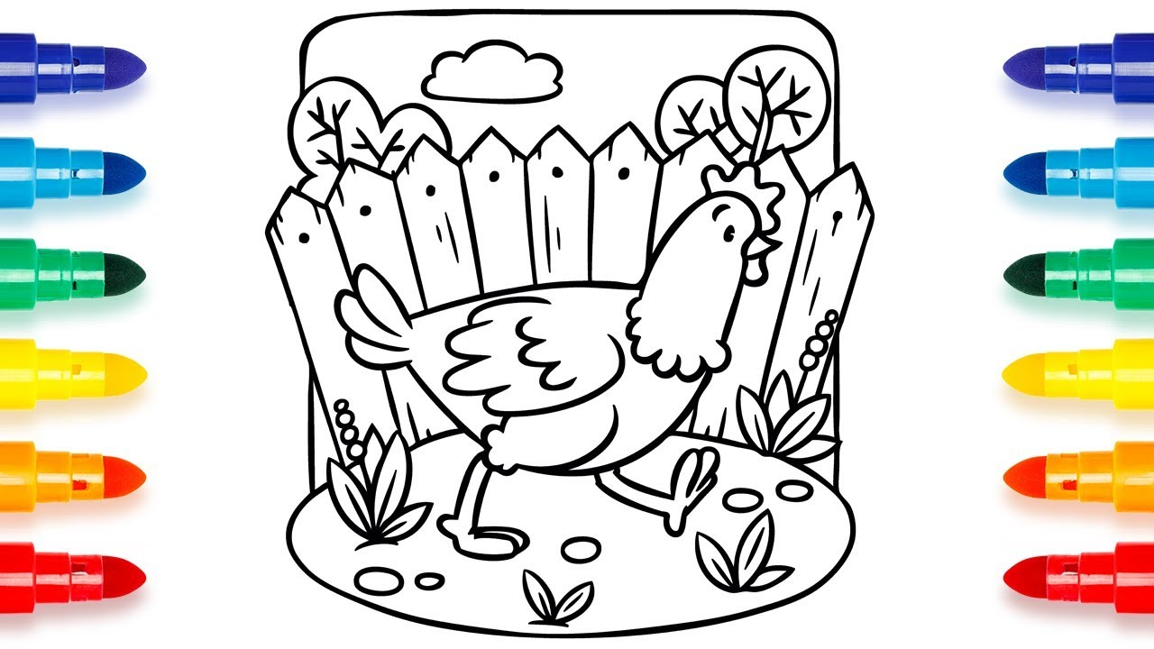 Drawing And Coloring Pages Chicken Running Around The Yard