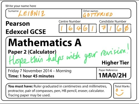 GCSE Maths Edexcel November 2014 Calculator (FULL PAPER)