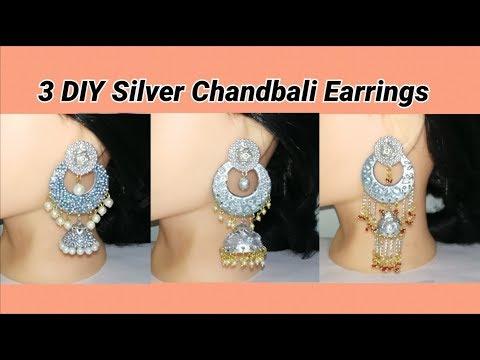 3 DIY silver Chandbali earrings making at home