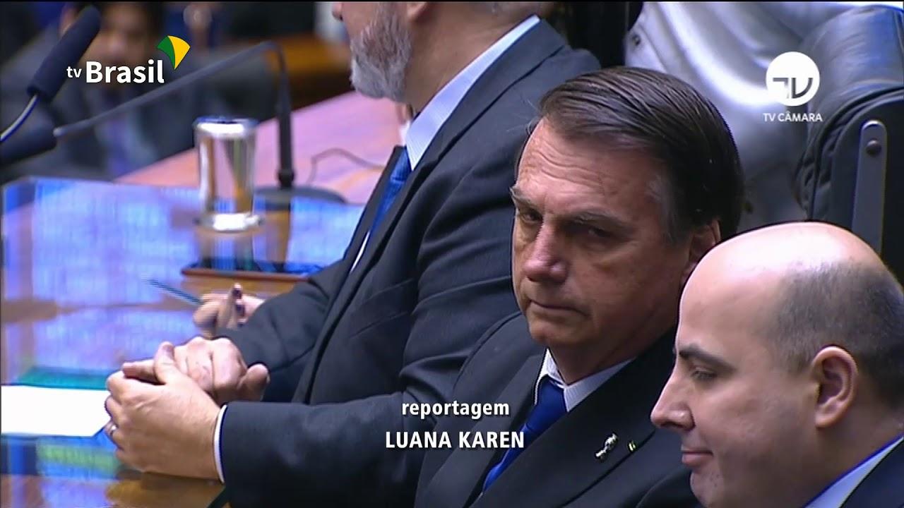 O presidente Jair Bolsonaro visita o Congresso no dia da votação da Reforma da Previdência