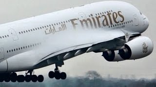 """Emirates / Airbus a380 """"SuperJumbo"""" Takeoff on a Wet rwy at Manchester (Full HD1080p)"""