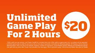 Dave & Buster's L Unlimited Game Play Just For Fun For 2 Hours