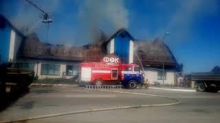 Работа пожарных при возгорании физкультурно-оздоровительного комплекса, Миоры