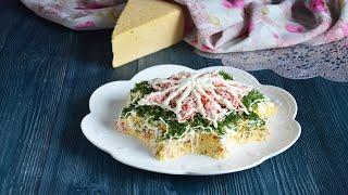 Салат Нежность с крабовыми палочками и сыром