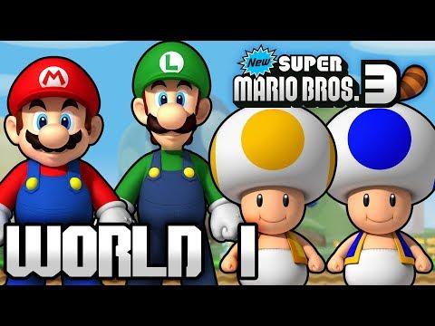 New Super Mario Bros. 3 Part 1 - World 1 (4 Player)