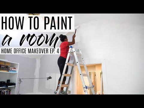 How to Paint a Room -  Home Office Makeover Ep 4