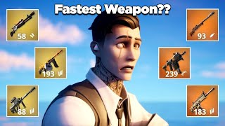 Which Weapon is the Fastest for Eliminating a Loot Shark? Midas' Revenge   Fortnite Experiments