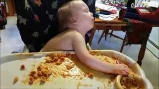 Baby Falls Asleep Highchair Eating Chef Boyardee