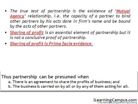 True test of Partnership under the Indian Partnership Act, 1932