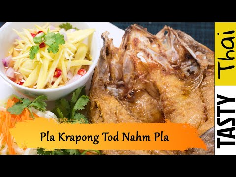 Deep Fried Sea Bass With Mango Salad – Pla Krapong Tod Nam Pla