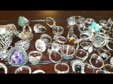HUGE Lot Of 298 Sterling Silver Vintage Rings 1456 Grams Total Weight No Reserve