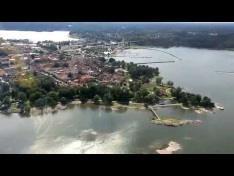 A trip over Vänersborg by Helicopter