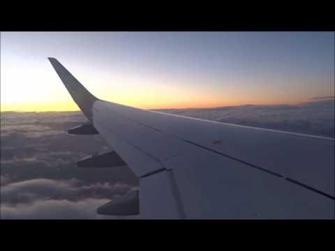 Turbulent Lufthansa A320 sunset departure from Frankfurt