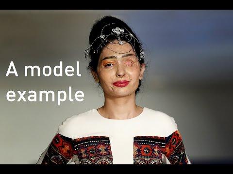 Teenage acid attack survivor models at New York Fashion Week