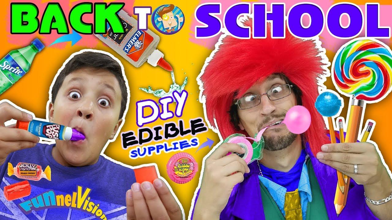 DIY EDIBLE SCHOOL SUPPLIES! Teacher vs  Supplies! FUNnel Vision Back to School Skit