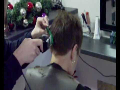 haircut lady visits barber