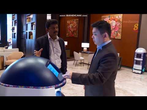 Techmetics Techi room service robot in Channel 8 Money week - Sofitel Singapore deployment