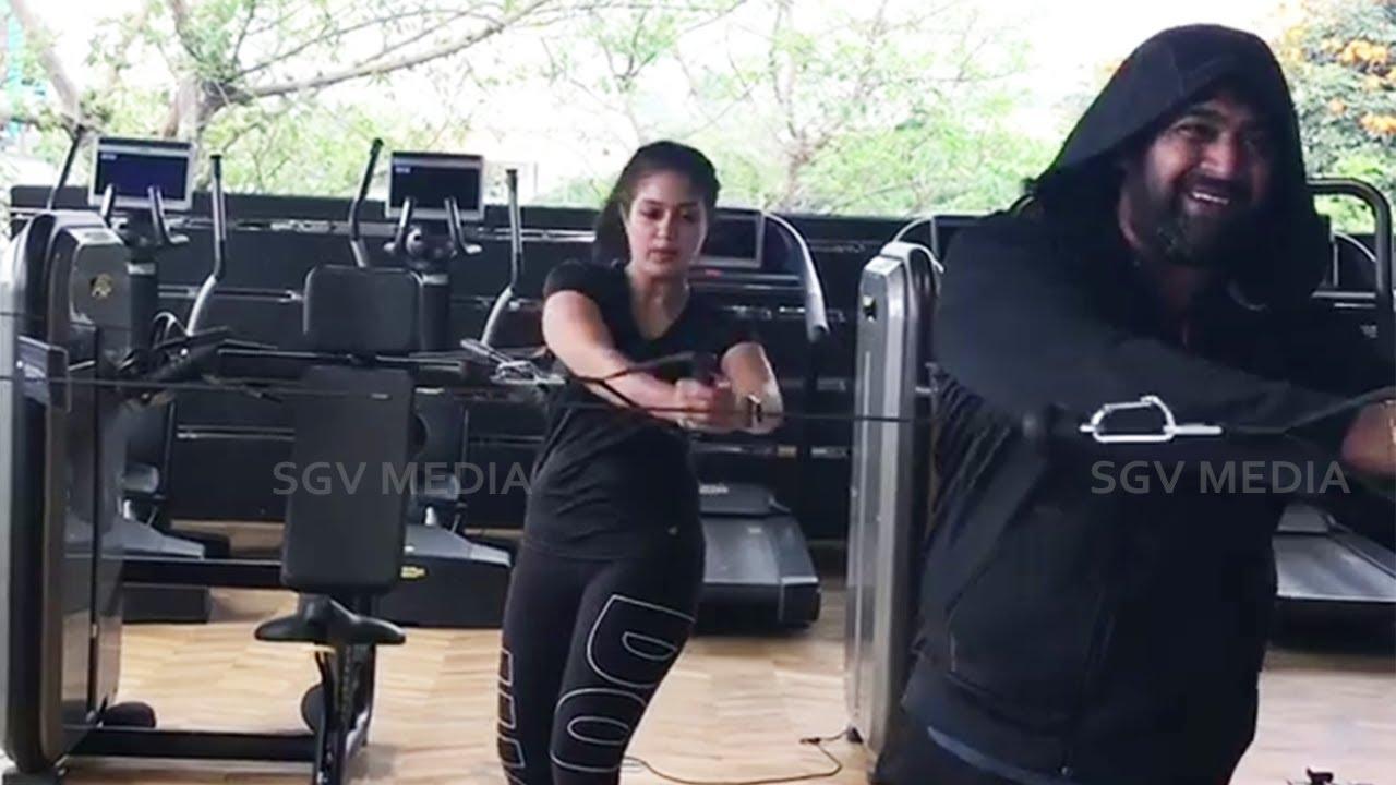 Meghana Raj and Chiranjeevi Sarja Together Workout Recent Video | Chiru Meghana Gym Video