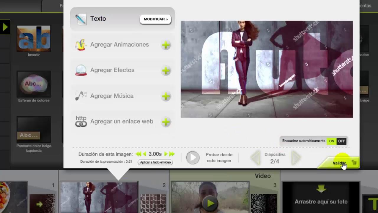 Download Tutorial Kizoa en español: Insertar imágenes, videos, texto, transiciones, música, exportar.