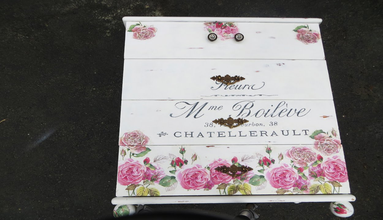 Incroyable How To Decoupage Furniture A Dresser French Script Flowers
