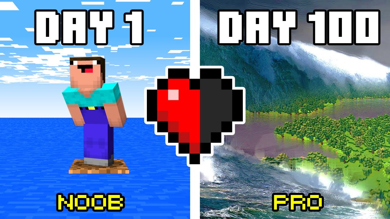100 Days in TSUNAMI Minecraft Noob Vs Pro Challenge!