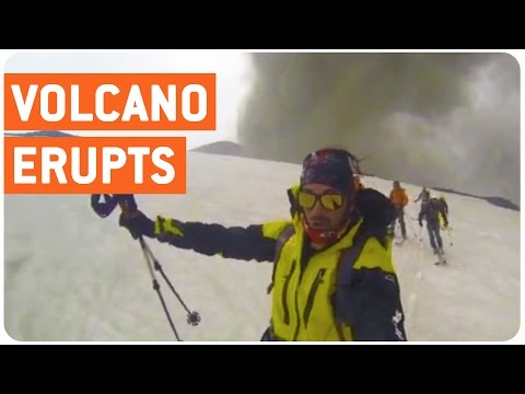 Skiiers Escape Volcano Eruption