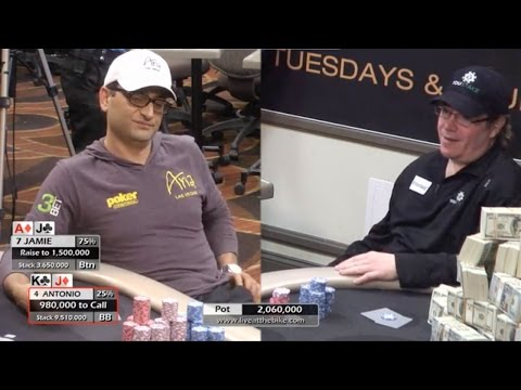 Antonio Esfandiari vs Jamie Gold, 2016 WSOPC Main Event ♠ Live at the Bike! Hand of the Night