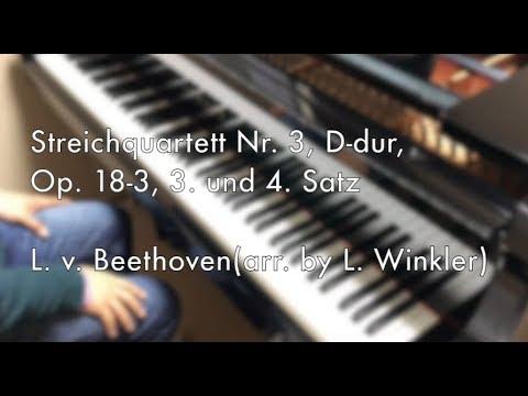 Beethoven, Streichquartett Nr. 3, D-dur, Op. 18-3, 3. und 4. Satz(arranged for piano by L. Winkler)