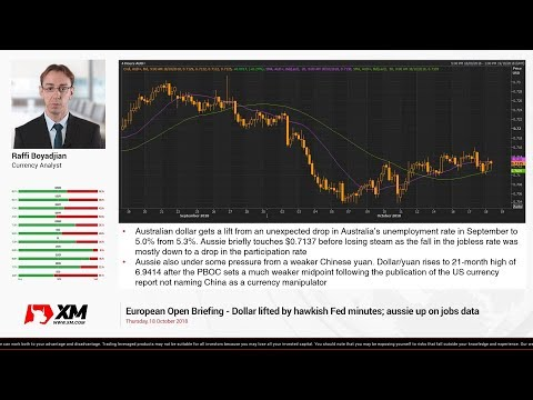 Forex News: 18/10/2018 - Dollar lifted by hawkish Fed minutes; aussie up on jobs data