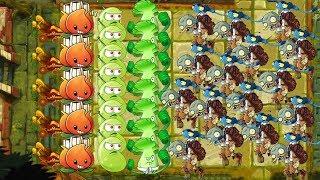 A.K.E.E. and Laser Bean vs All Zombies - Plants vs Zombies 2