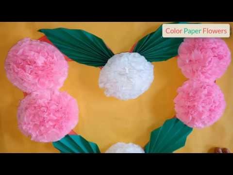 How to make color tissue paper flowers easy - Color Paper Flowers