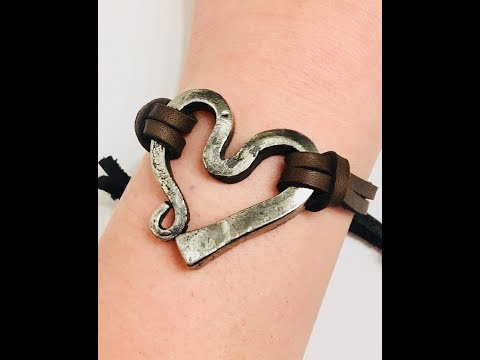 Blacksmithing - Forging A Stainless Steel Horseshoe Nail Heart Bracelet