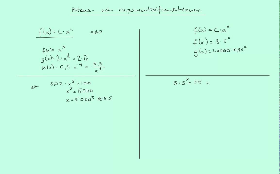 Matematik 3b: Potens- och exponentialfunktioner - repetition