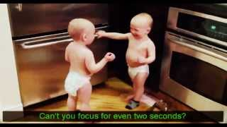 funny - Talking Twin Babies Part 1 Subtitles Translation (high quality)