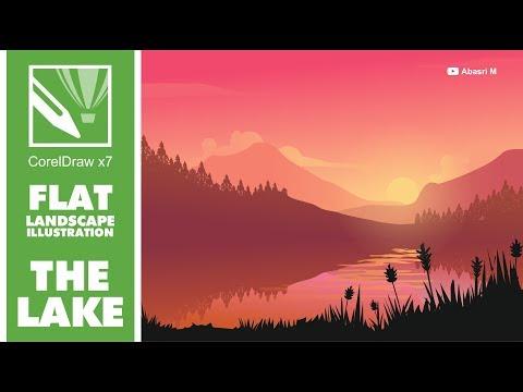 Draw Flat Landscape Illustration - The Lake (2) - CorelDraw x7