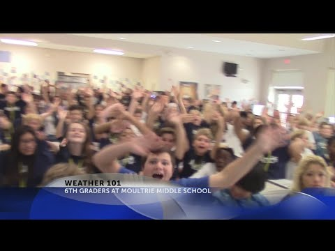 Rob Fowler visits the 6th graders at Moultrie Middle School for Weather 101