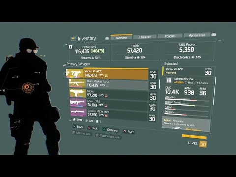 The Division Craft SMG High End-Vector 45 ACP -  Max DPS