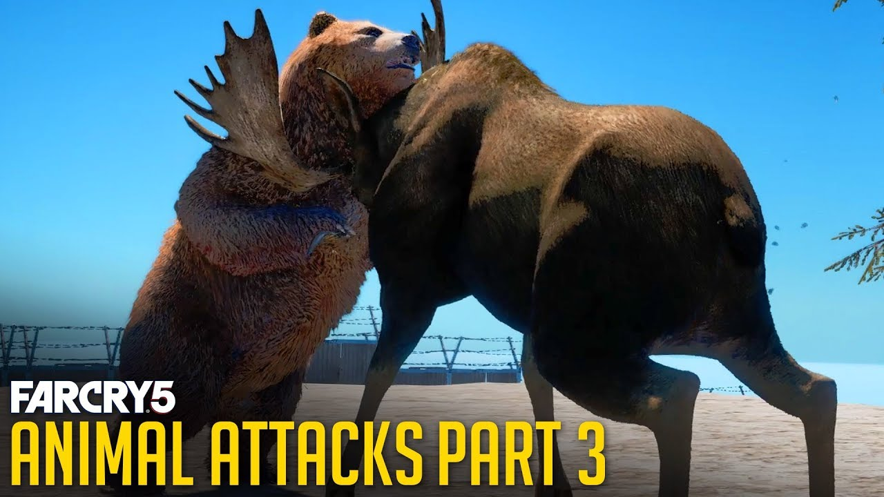 FAR CRY 5 - All Animal Attacks on Grizzly Bear (Animal Attacks Part 3) Animals VS Bears