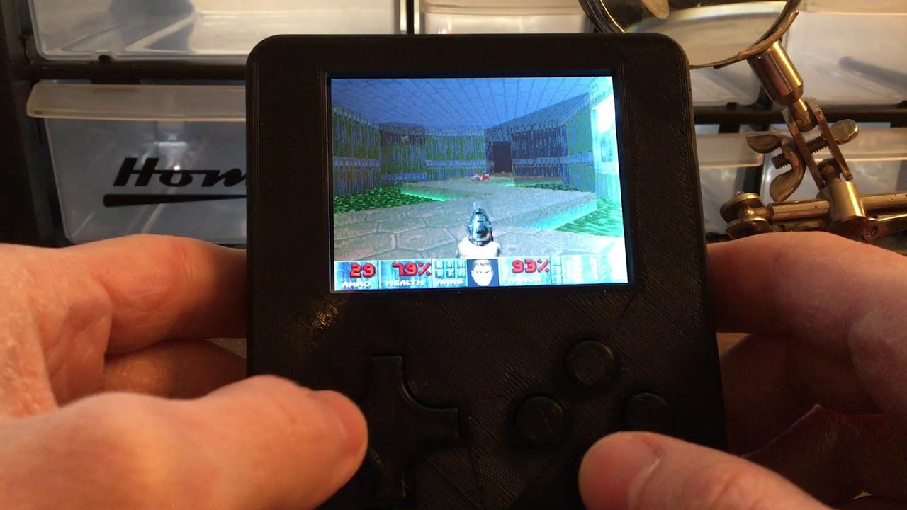 DOOM on a C H I P , Powered by GadgetOS, RetroArch, @OSHPark PCB
