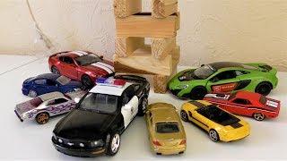 TOY CARS BUMP INTO JENGA TOWER