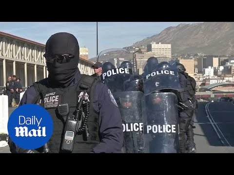 U.S. border police conduct security drills ahead of the caravan