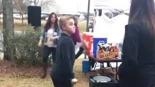 My son impressing her with dance moves  - 984374